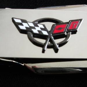 Corvette C3 Silver Hinged Locking Back Money Clip-Free Engraving