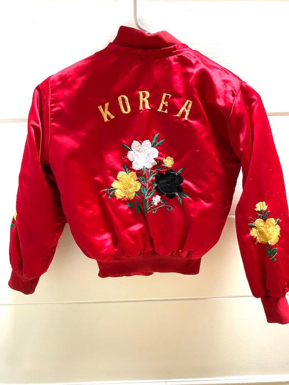 Vintage Kids Satin Embroidered Souvenir Jacket Kor