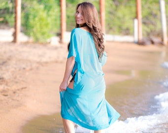 f195462be7c44 Custom Length Beach Cover Up - Kaftan - Swimsuit Coverup - Chiffon Dress -  Kimono - Beach Coverup - Swim Suit Cover Up - Sheer Cover Up
