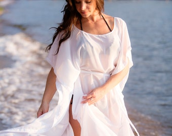 5a45f2675757c Small 5' White Chiffon Long Draped Coverup with Short Sleeves and Belt -  READY to SHIP
