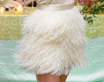 d76b1b5ba4 Extra Full High Waisted Feather Skirt -Ostrich Feather Skirt -Wedding Skirt  -Short Feather Skirt -White Feather Skirt -Long Feather Skirt