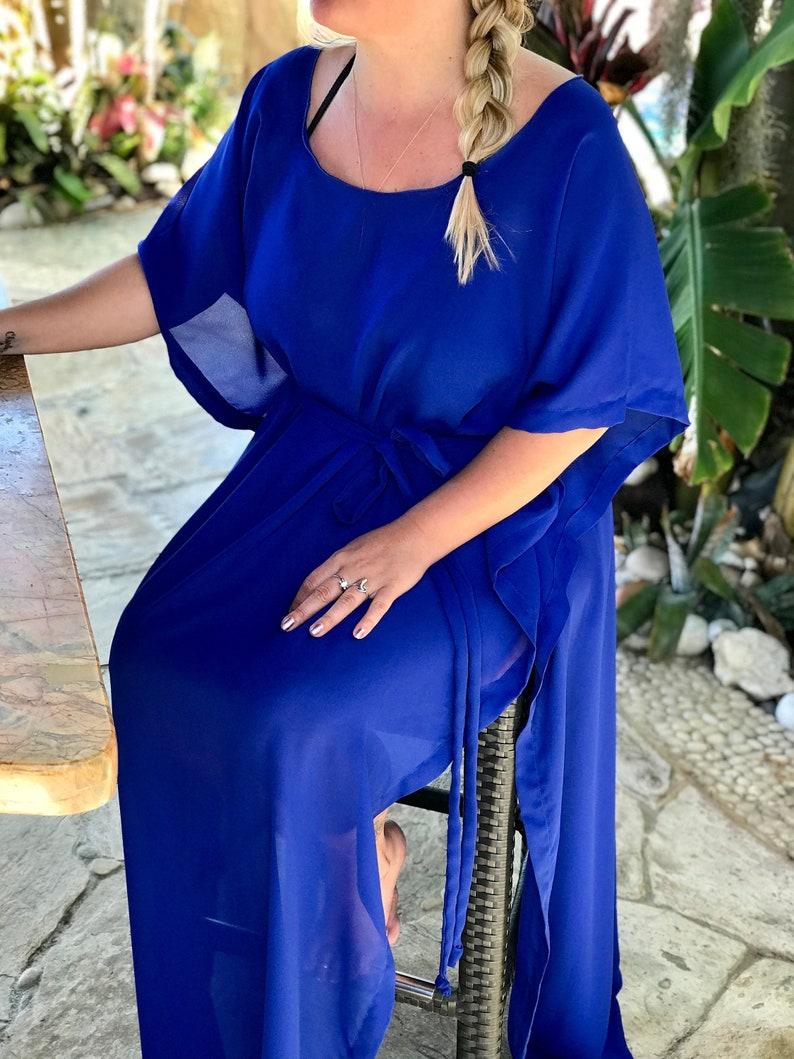 f332357d83bd3 Large 5'5 Royal Blue Georgette Long Draped Coverup | Etsy