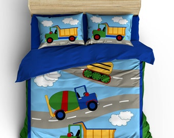 Under Construction Theme Kids Duvet Cover Pillow Case Personalized Boys Bed Bedding Set Big Trucks Dump Truck Bulldozer By PICKLEBERRY KIDS