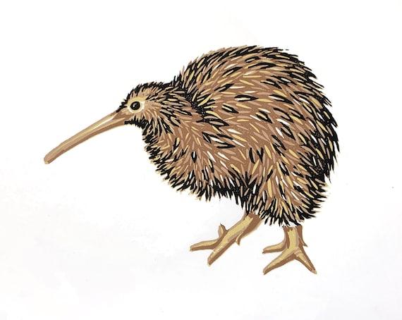 Limited Edition Kiwi Linocut Handmade Print