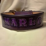 """2"""" Wide Leather Dog Collar Personalized with Dog's Name"""