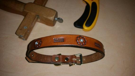 Collier de chien en cuir avec des cristaux
