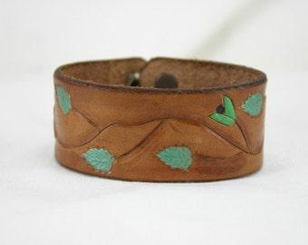 Leather Bracelet with Flower and Vine Design