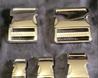 Aluminum Side Release Buckles - SECONDS (Cosmetic) - High Polish Nickel