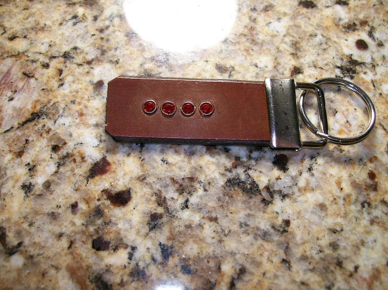 Leather Key Fob with Crystal Accents image 0