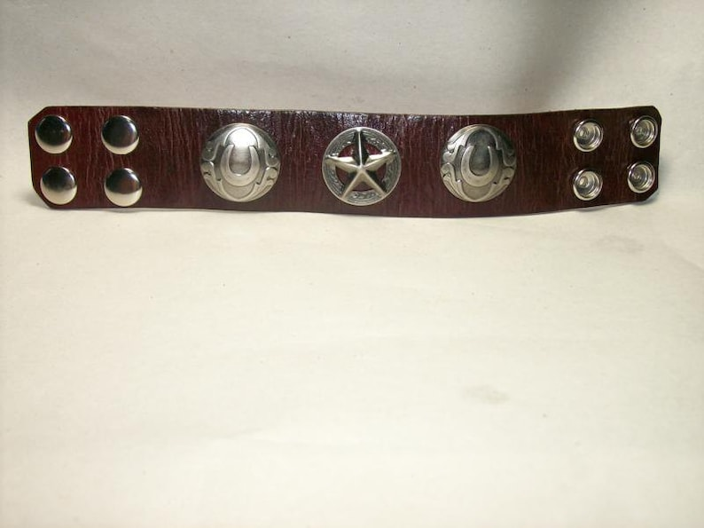 Wide Leather Bracelet with Texas Star and Horseshoe Conchos image 0