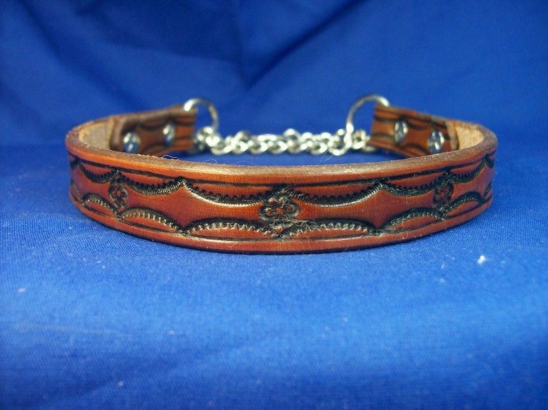Leather Martingale Dog Collar  3/4 wide image 0