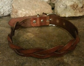 Braided Leather Dog Collar - Hand made from full grain leather and dyed to your choice of color.