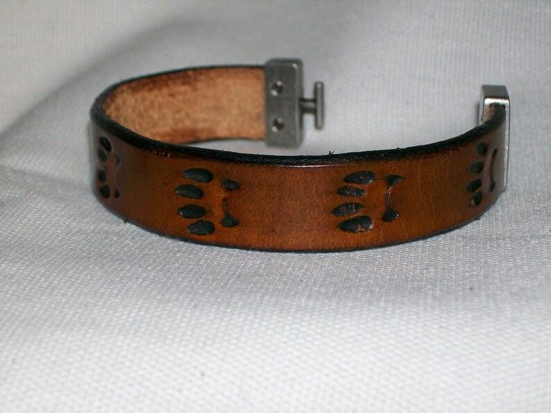 Paw Print Leather Bracelet image 0