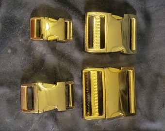 Aluminum Side Release Buckles - SECONDS (Cosmetic) - High Polish Brass