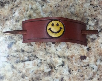 Leather Pony Tail Stick Barrette with Hand Stamped and Painted Smiley Face