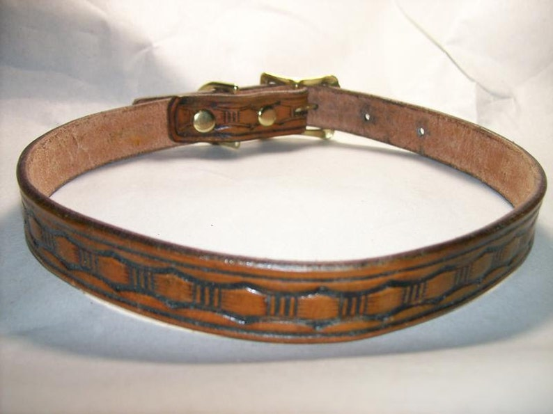 Leather Dog Collar with Large Basketweave image 0