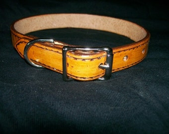 """3/4"""" Wide Leather Dog Collar"""