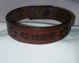 Paw Print Leather Bracelet With Name