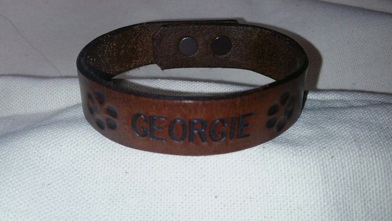 Paw Print Leather Bracelet With Name image 0