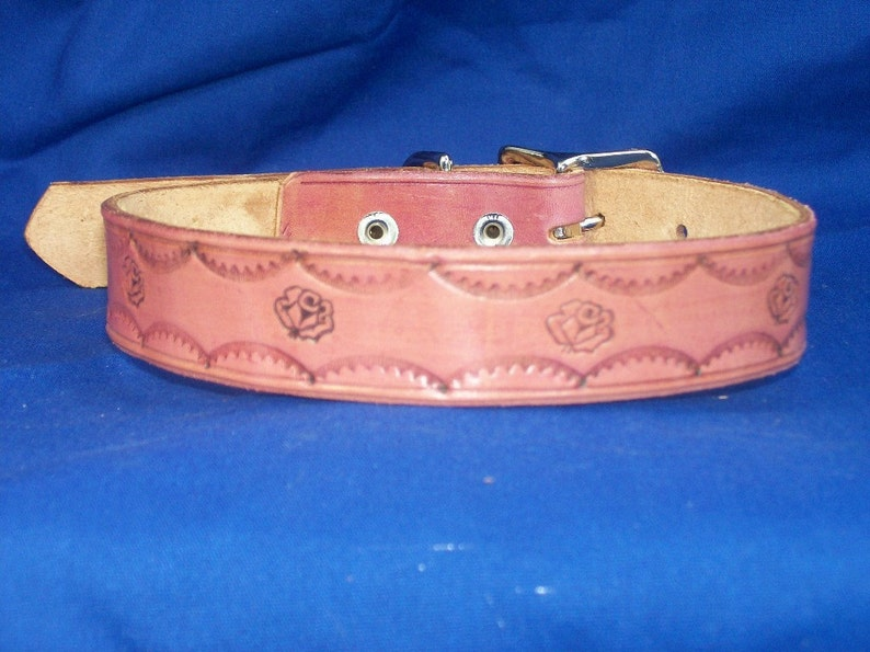 Leather Dog Collar with Roses image 0