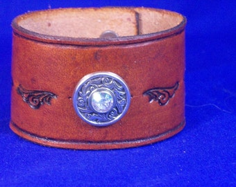 Wide Leather Bracelet with Concho and Crystal