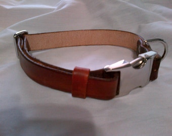 Adjustable Leather Dog Collar with Side Release Buckle - Medium