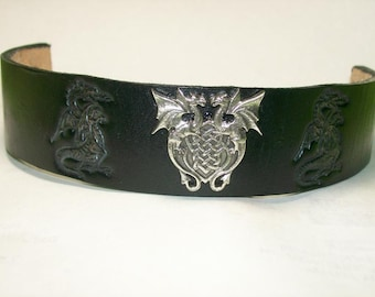 Black Leather Cuff Bracelet with Dragon Stamps and Dual Dragon Concho