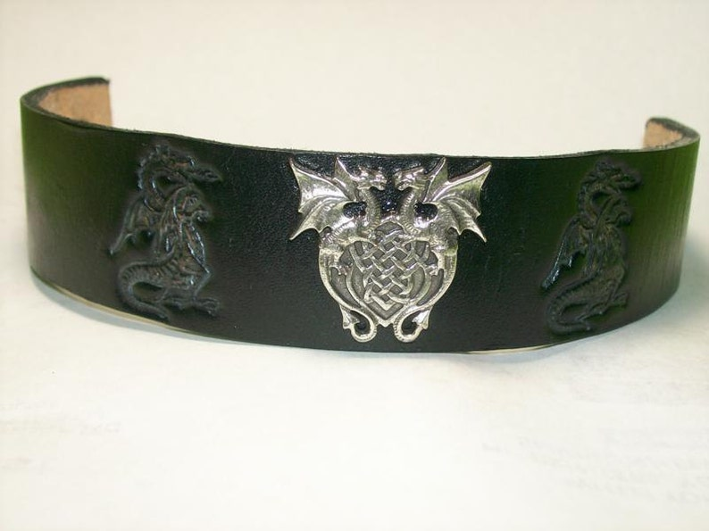 Black Leather Cuff Bracelet with Dragon Stamps and Dual Dragon image 0