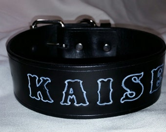 """1-1/2"""" Wide Leather Dog Collar Personalized with Dog's Name"""