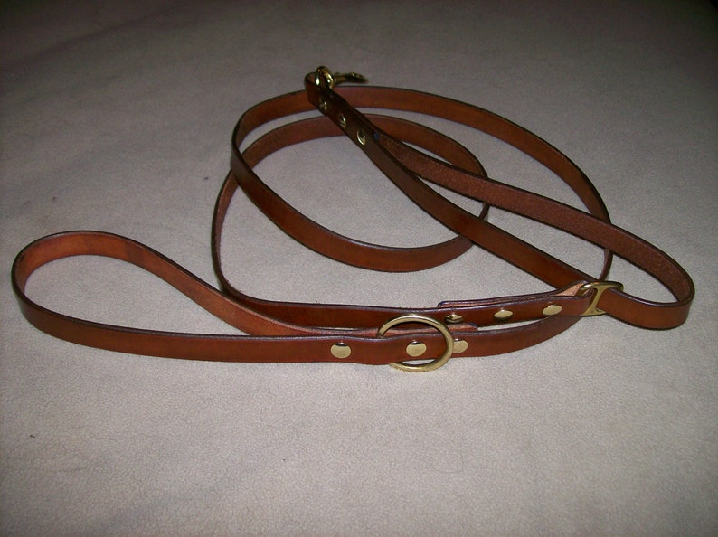Leather Dog Leash with Built in Stub Leash image 0