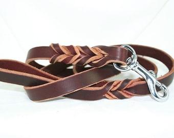 Latigo Leather Leash with Woven Ends