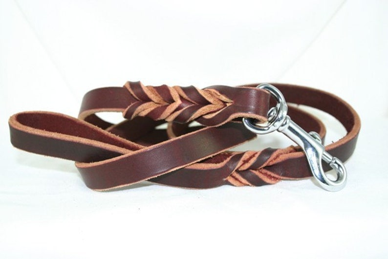 Latigo Leather Leash with Woven Ends image 0