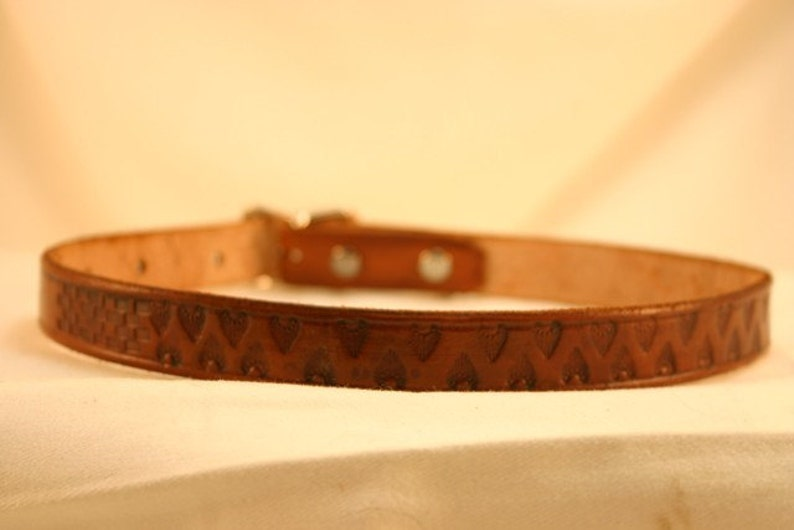 Leather Dog Collar with Arrowhead Pattern image 0