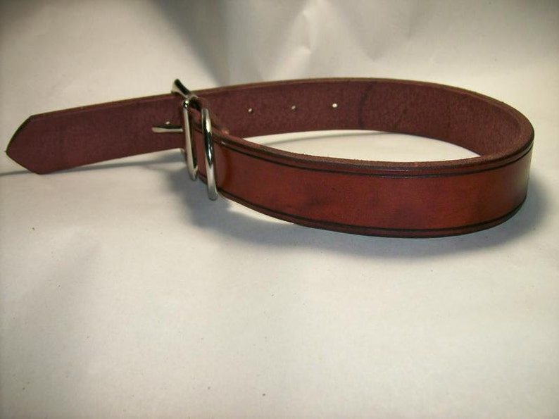 Heavy Duty Latigo Leather 1 Wide Dog Collar with Chicago image 0