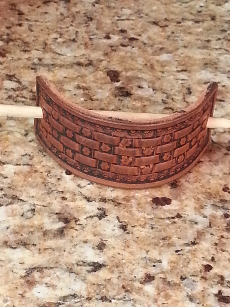 Leather Stick Barrette with Flower Basketweave Pattern image 0