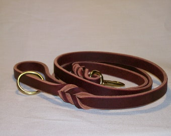 Latigo Leather Leash with Woven Ends and Floating Ring