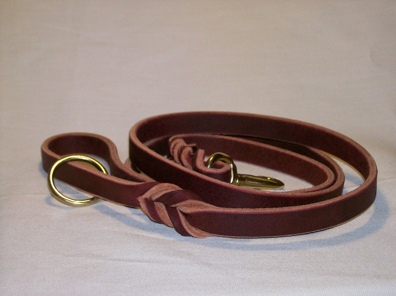 Latigo Leather Leash with Woven Ends and Floating Ring image 0