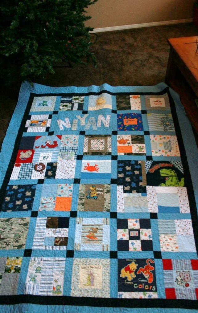 Memory Quilt Made From Baby Clothes Deposit Etsy