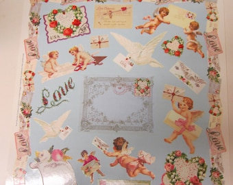 Love and Cupids and Hearts and Roses Vintage Looking Sticker Sheet