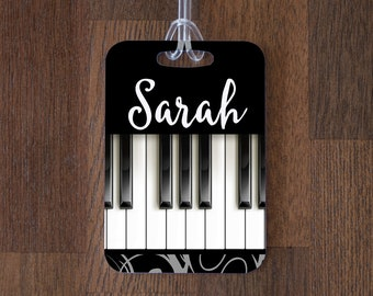 Personalized Piano Music Luggage Tag ID Tag - Custom Name