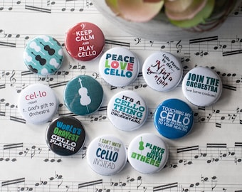 Symphony Band 10 Pack Music Instruments Pins Party Favors Musical Instrument Buttons 1 or 1.5 or 2.25 Pin Back Buttons or Magnets