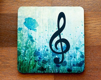 Floral Treble Clef Music Themed Coaster