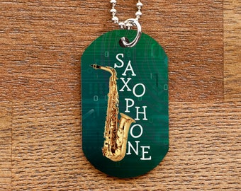 Saxophone Dog Tag Necklace for Band Geeks