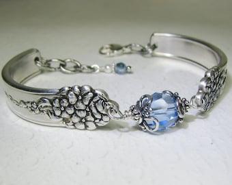 Spoon Bracelet with Light Sapphire Crystal, 'Moss Rose' 1949, Silverware Jewelry, Customizable