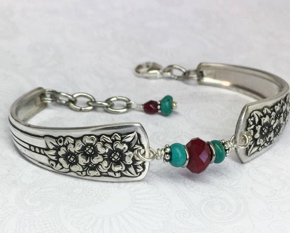 Spoon Bracelet, Garnet & Genuine Turquoise, Silverware Jewelry, Spoon Jewelry, 'Silver Belle' 1940