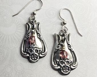 "Spoon Earrings, Pink Swarovski Crystals, Dangle Earrings, Silverware Jewelry, ""Magnolia"" 1951"