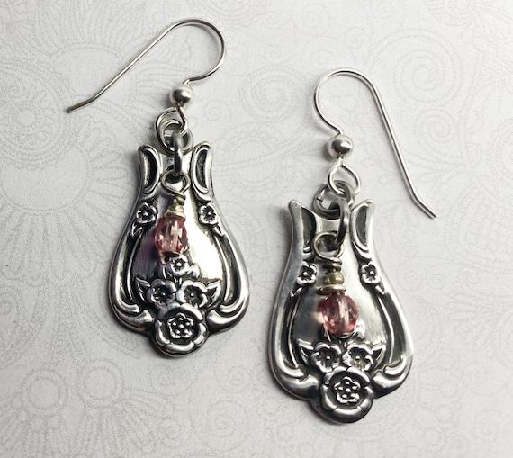 """Spoon Earrings, Pink Crystals, Dangle Earrings, """"Magnolia"""" 1951"""