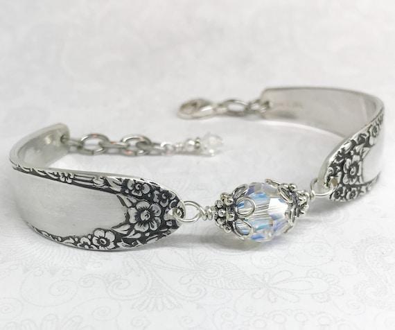 Silver Spoon Bracelet, Clear Crystal, Silverware Jewelry, 'English Garden' 1949