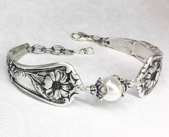 Antique Spoon Bracelet with White Pearl, Customizable Silverware Jewelry, 'Gloria' aka 'Grenoble' 1906