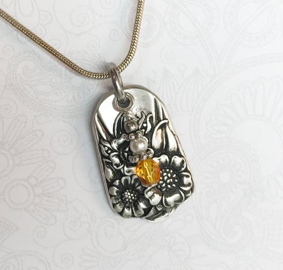 Spoon Necklace with Yellow Crystal, 'April' 1950, Sunflower Jewelry